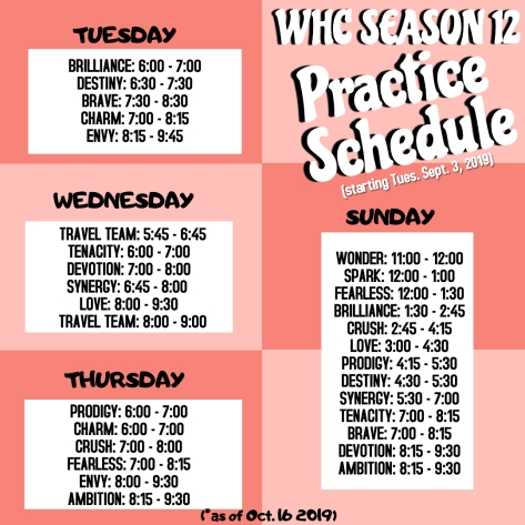 FALL SEASON 12 PRACTICE SCHEDULE - Made with PosterMyWall